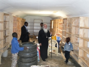 Archbishop makarios visits the renovated temporary library hall. orthodox mission kenya project 1