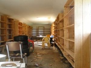 rennovated library hall. Orthodox community library in the making