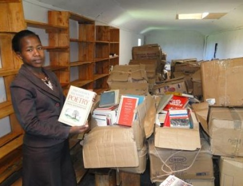 Book cataloging at Orthodox Community Library. Orthodox Mission Kenya Project