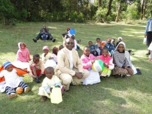 The Late Fr Evlogios Githingo With Children of St Barnabas Orthodox Orphanage and School during an outdoor tour