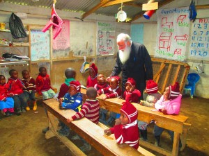 archbishop makarios with kids at Njabini
